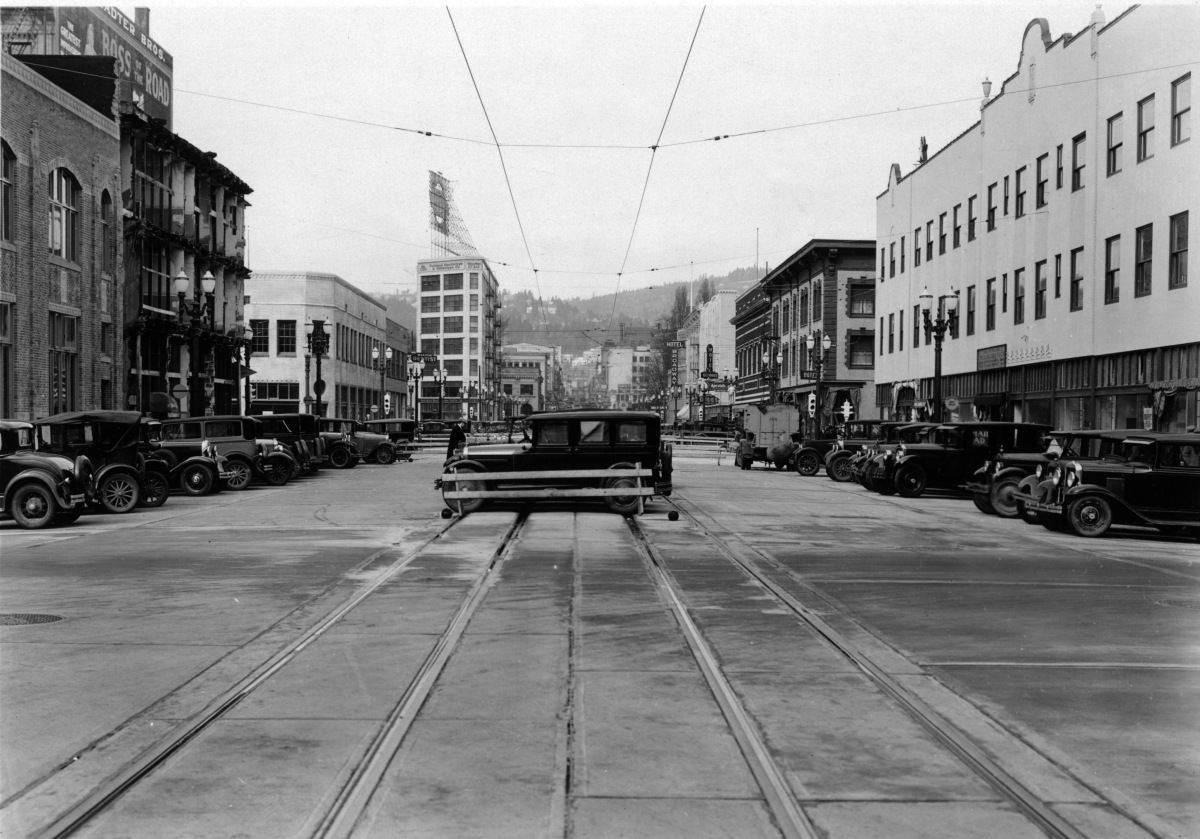West Burnside after widening. (City of Portland archives)