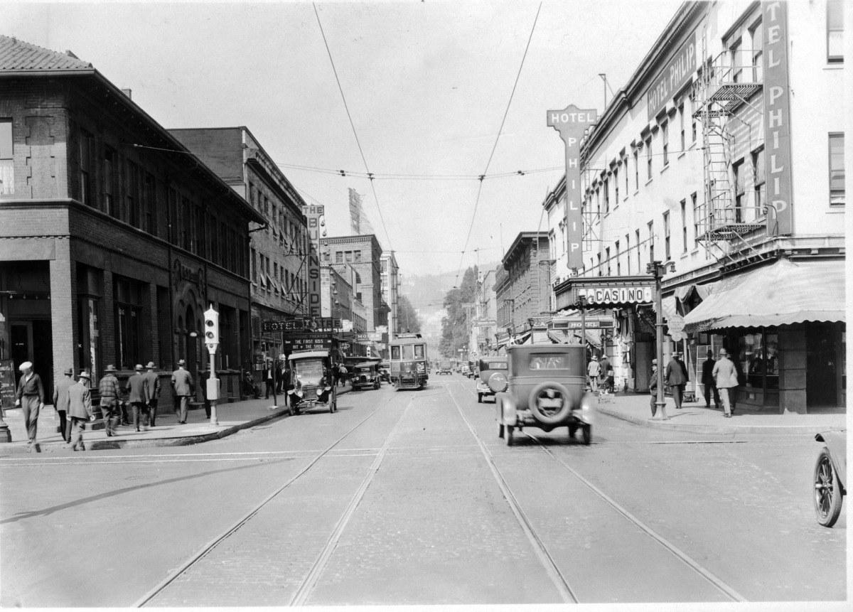 West Burnside before widening. The Hotel Philip is visible on the right. (City of Portland archives)