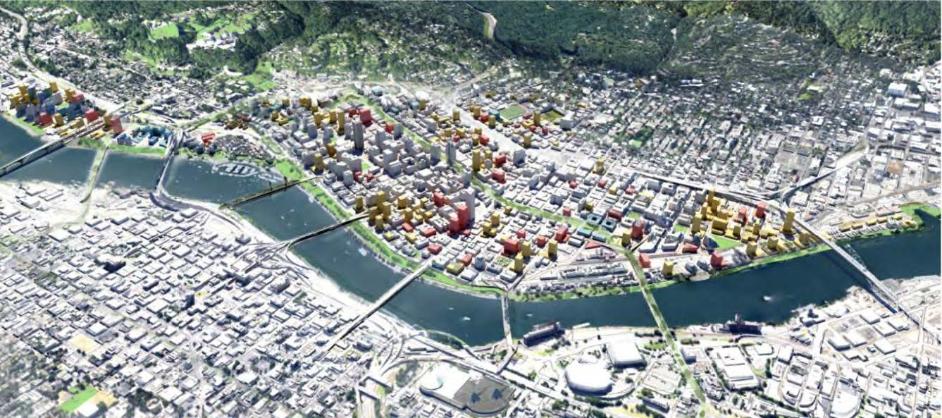 possible development scenario meeting targets for approximately 20,000 new housing units and 30,000 new jobs in the West Quadrant
