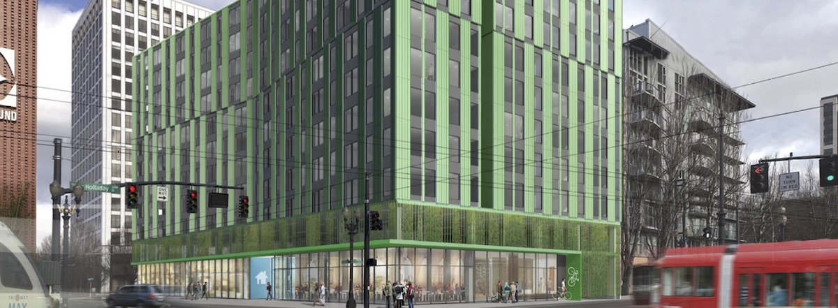 The Block 45 development at 1010 NE Grand Ave will include 127 affordable units and 77 market rate units