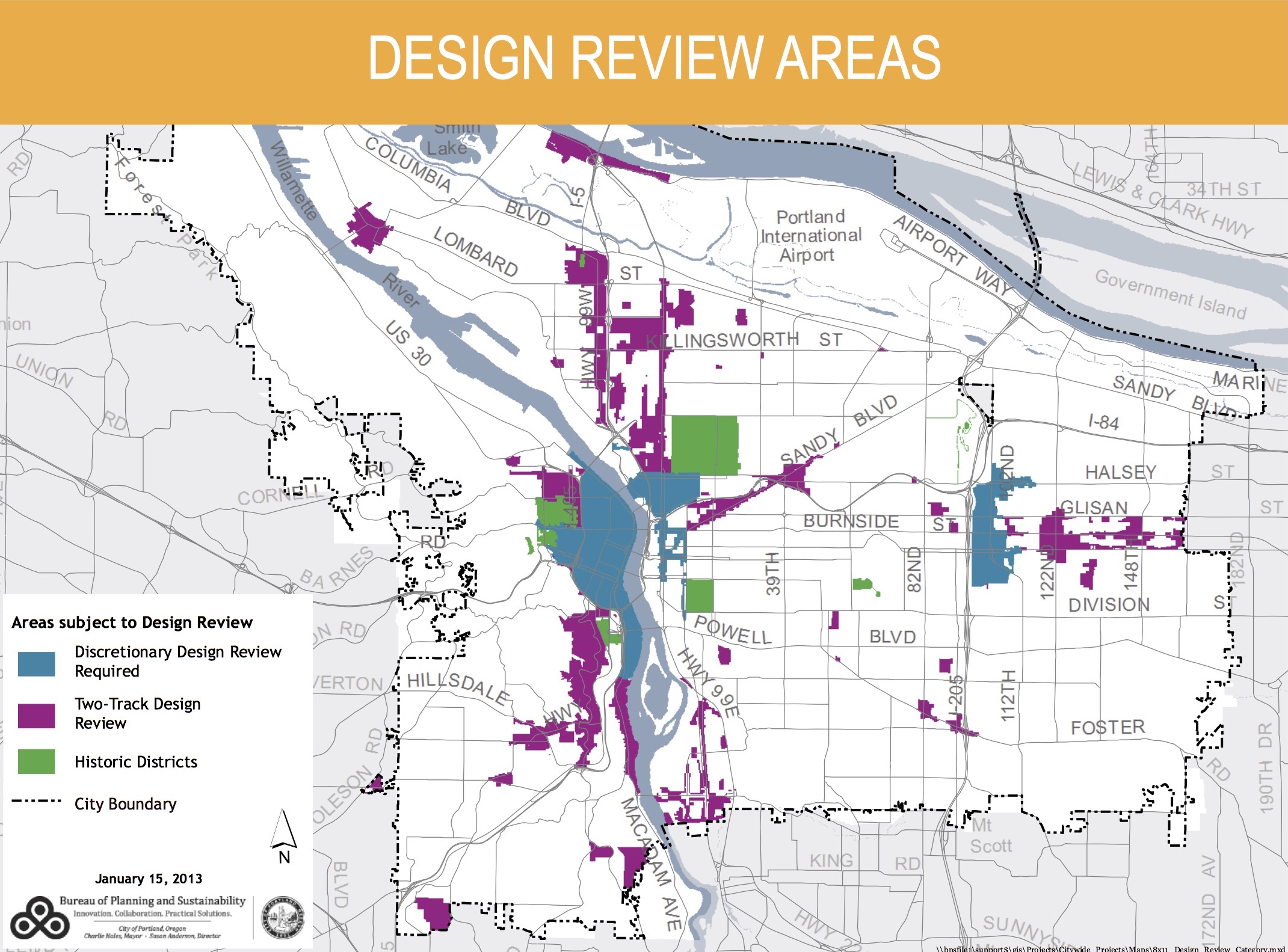Areas of the city subject to Design Review. With some exceptions, the Design Commission reviews projects in the blue areas. Projects in the purple areas typically only come before the Design Commission if they are appealed. Areas in white are not subject to Design Review.