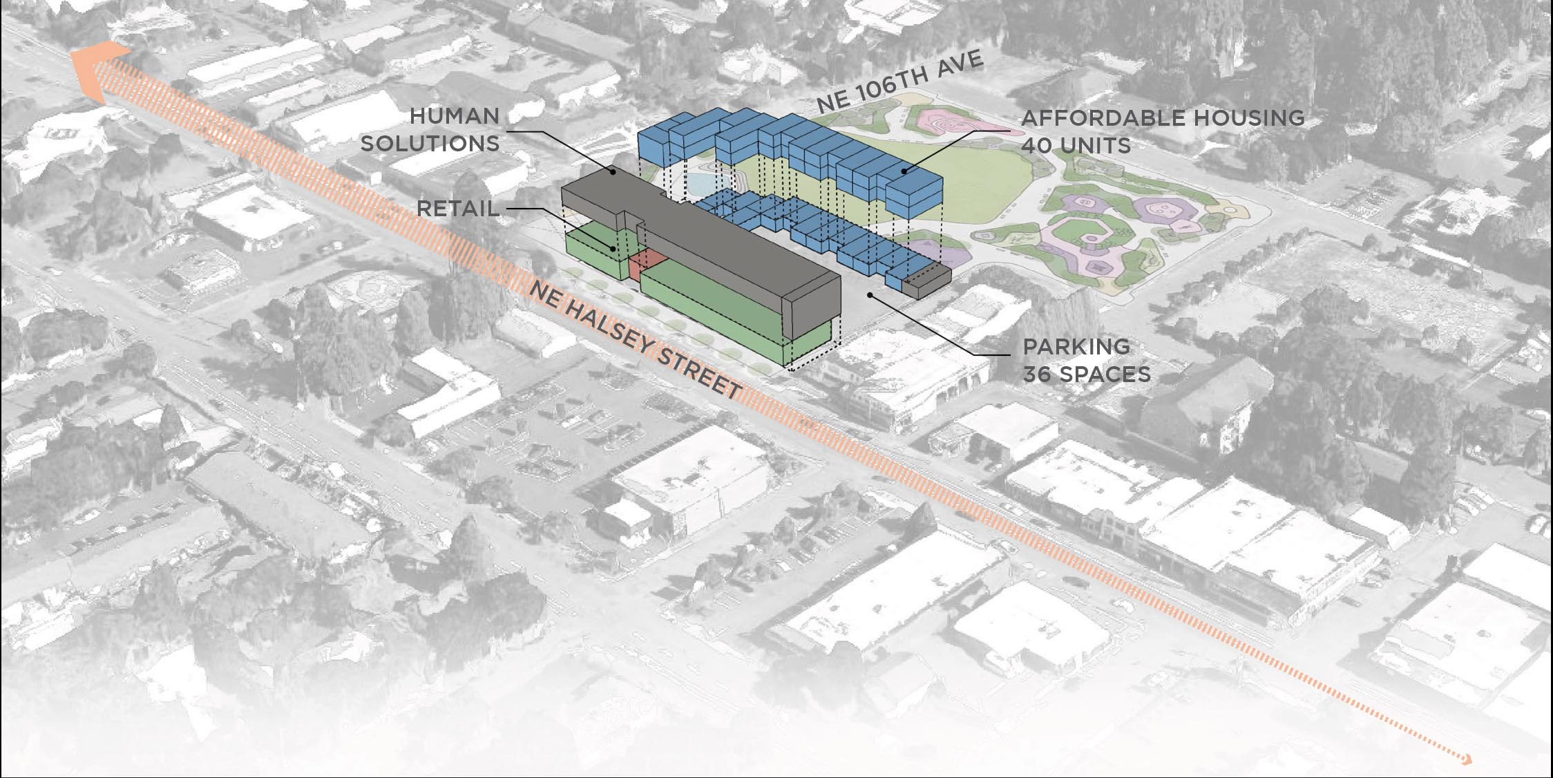 The proposed development at NE 106th & Halsey by Human Solutions, Inc.