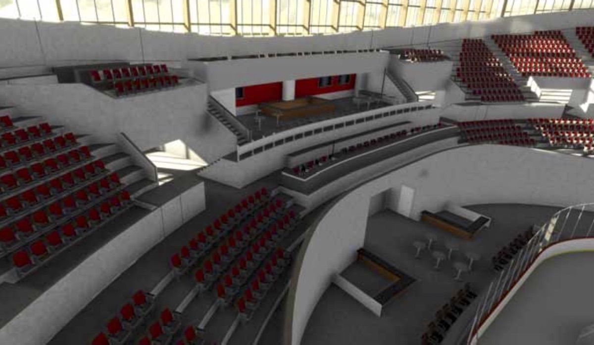 "Image of a potential ""north end party deck"" at Veterans Memorial Coliseum, identified as one of the potential improvements by the 2015 study into the building."